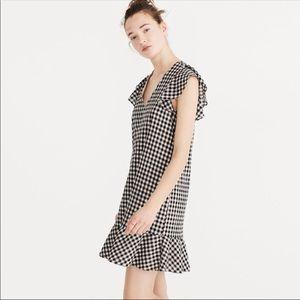 Madewell Black Gingham Ruffle Cotton Dress.- 12
